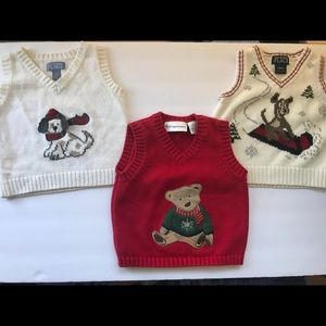 3 Baby Boys Sweater Vests Holiday Christmas 12mo